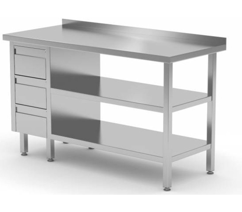 XXLselect Stainless steel worktable + Ladeblok 3 drawers + 2x + Bottom Shelf Edge Splash | 800 (b) x600 (d) mm | CHOICE OF 12 WIDTHS