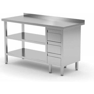 XXLselect Stainless steel worktable + Ladeblok 3 drawers + Double Bottom Shelf   800 (b) x600 (d) mm   CHOICE OF 12 WIDTHS