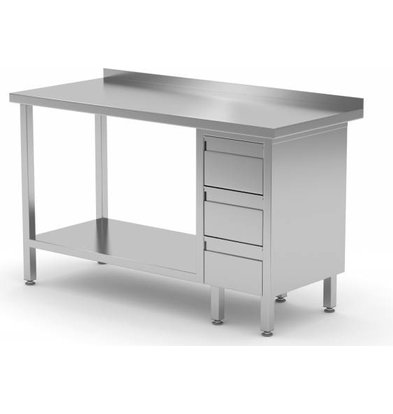 XXLselect Stainless steel worktable + Drawer unit (right) 3 drawers + Bottom Shelf | 800 (b) x600 (d) mm | CHOICE OF 12 WIDTHS
