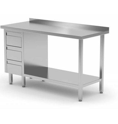 XXLselect Stainless steel worktable + Drawer unit (left) 3 drawers + Bottom Shelf + Splash-Rand | 800 (b) x600 (d) mm | CHOICE OF 12 WIDTHS