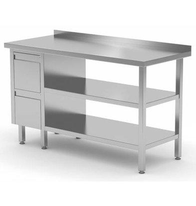 XXLselect Stainless steel worktable + Ladeblok 2 drawers + 2x + Bottom Shelf Edge Splash | 800 (b) x600 (d) mm | CHOICE OF 12 WIDTHS