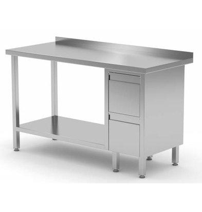 XXLselect Stainless steel worktable + Ladeblok 2 drawers + Bottom Shelf + Splash-Rand | 800 (b) x700 (d) mm | CHOICE OF 12 WIDTHS