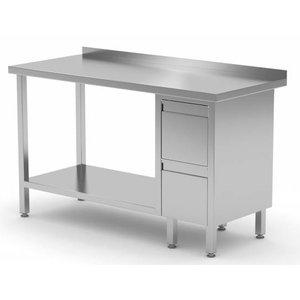 XXLselect Edelstahl-Arbeitstisch + Ladeblok 2 Schubladen + Bottom Shelf + Splash-Rand | 800 (b) x600 (d) mm | AUSWAHL 12 WIDTHS