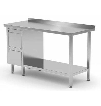 XXLselect Stainless steel worktable + Ladeblok 2 drawers + Bottom Shelf + Splash-Rand | 800 (b) x600 (d) mm | CHOICE OF 12 WIDTHS