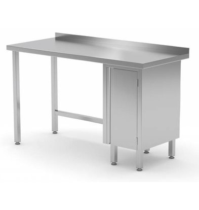 XXLselect Stainless steel worktable + 1 lift system (right) + Splash Edge | 800 (b) x700 (d) mm | CHOICE OF 12 WIDTHS