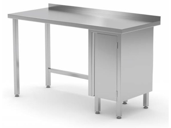 XXLselect Stainless steel worktable + 1 lift system (right) + Splash Edge | 800 (b) x600 (d) mm | CHOICE OF 12 WIDTHS
