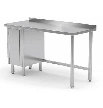 XXLselect Stainless steel worktable + 1 lift system (left) + Splash Edge | 800 (b) x700 (d) mm | CHOICE OF 12 WIDTHS