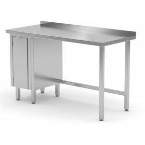 XXLselect Stainless steel worktable + 1 lift system (left) + Splash Edge | 800 (b) x600 (d) mm | CHOICE OF 12 WIDTHS