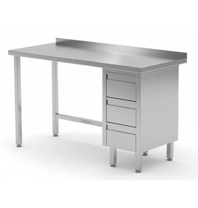 XXLselect Stainless steel worktable + Drawer unit (right) 3 drawers + Splash-Rand | 800 (b) x600 (d) mm | CHOICE OF 12 WIDTHS
