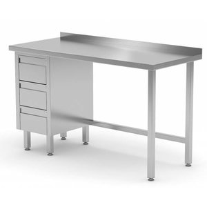 XXLselect Werktafel RVS + Ladeblok (links) 3 lades + Spatrand | 800(b)x600(d)mm | KEUZE UIT 12 BREEDTES