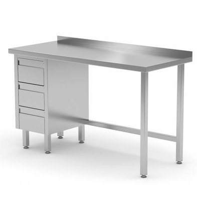 XXLselect Stainless steel worktable + Drawer unit (left) 3 drawers + Splash-Rand | 800 (b) x600 (d) mm | CHOICE OF 12 WIDTHS