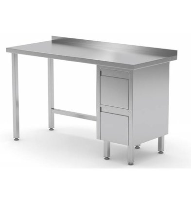 XXLselect Stainless steel worktable + Drawer unit (right) + 2 drawers Water-Rand | 800 (b) x700 (d) mm | CHOICE OF 12 WIDTHS