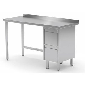 XXLselect Stainless steel worktable + Drawer unit (right) + 2 drawers Water-Rand | 800 (b) x600 (d) mm | CHOICE OF 12 WIDTHS