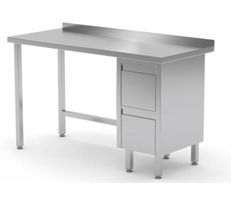 XXLselect Stainless Steel Worktable Drawer Unit Right - Stainless steel work table with drawers