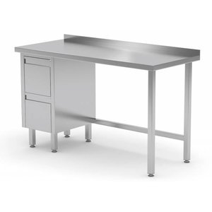 XXLselect Werktafel RVS + Ladeblok (links) 2 laden + Spatrand | 800(b)x700(d)mm | KEUZE UIT 12 BREEDTES