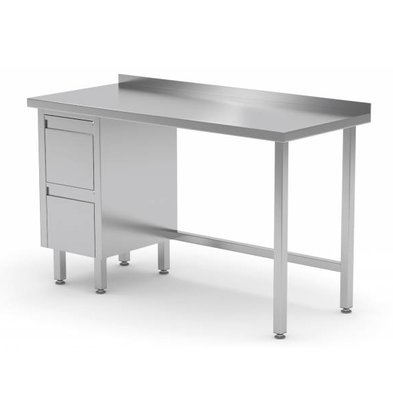 XXLselect Stainless steel worktable + Drawer unit (left) + 2 drawers Water-Rand | 800 (b) x600 (d) mm | CHOICE OF 12 WIDTHS