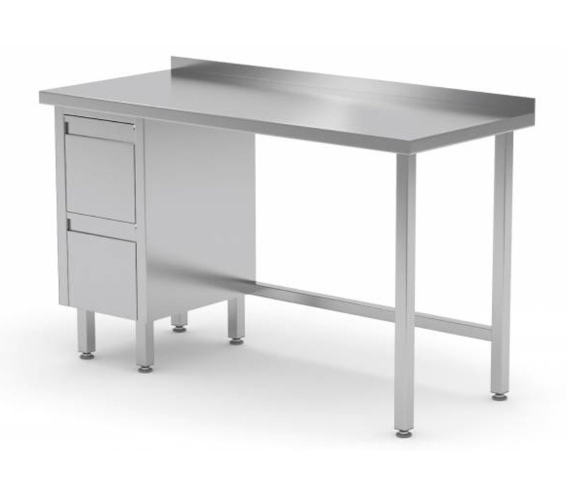 XXLselect Stainless Steel Worktable Drawer Unit Left Drawers - Stainless steel work table with drawers