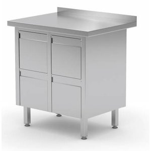 XXLselect Stainless Cupboard + Double Drawer unit with four Laden + Splash-Rand | (b) 830mm | 600mm (d)