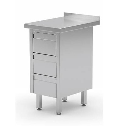 XXLselect Stainless Cupboard + Drawer unit with 3 Drawers + Splash-Rand | (b) 430mm | 700mm (d)