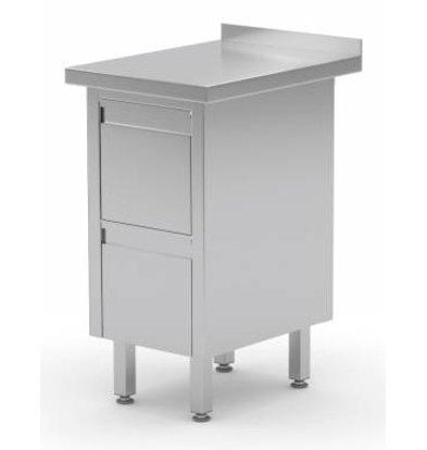 XXLselect Stainless Schrank + Schubladenelement mit zwei Laden + Splash-Rand | (b) 430 mm | 700 mm (d)