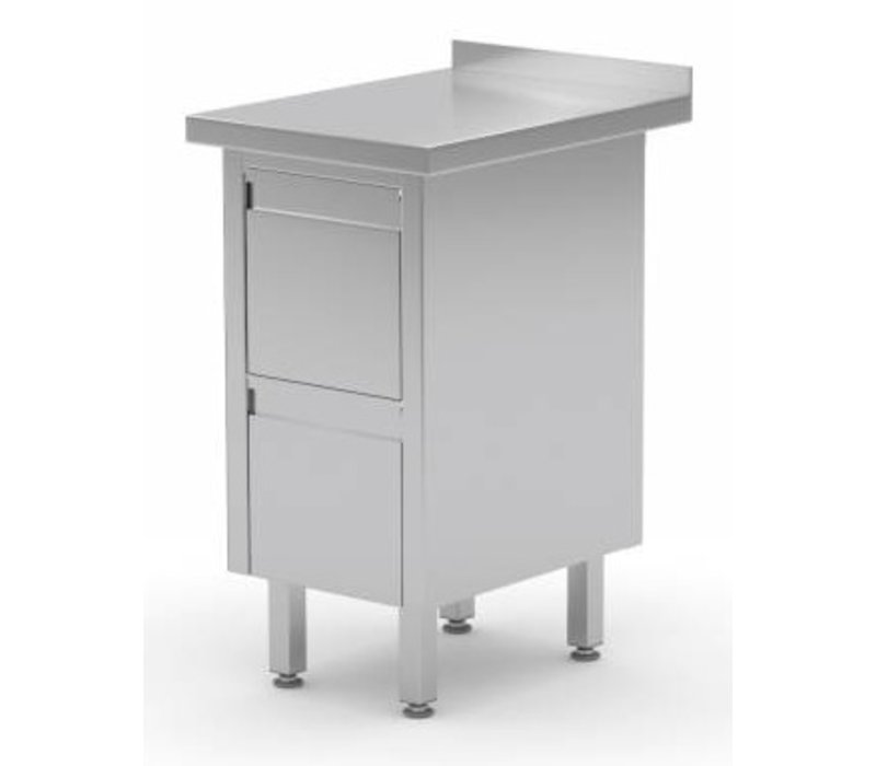 XXLselect Stainless Cupboard + Drawer unit with 2 drawers + Splash-Rand | (b) 430mm | 600mm (d)