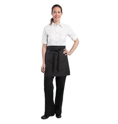 XXLselect Chef Works Wide Waist Half pinstripe shirt - 48 (W) x 48 (L) cm - Black - Unisex