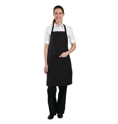 Chef Works Chef Works pinstriped halter apron - 610 (W) x 850 (L) mm - Black - Unisex