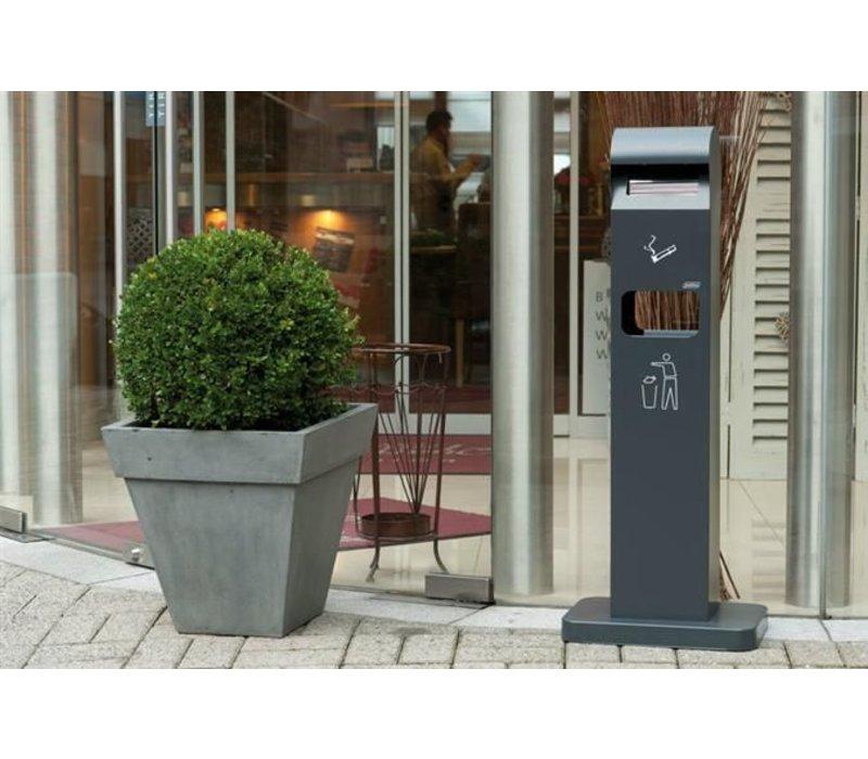 XXLselect Standing Ashtray Totem | Black with Afvalbak | 2 Liter + 8 Litre Waste bin | Up to 600 butts