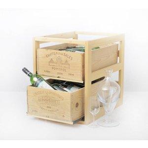 XXLselect Weinregal box - Zwei Schubladen - Holz