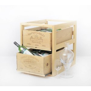 XXLselect Wijnrek box - Twee lades - Hout