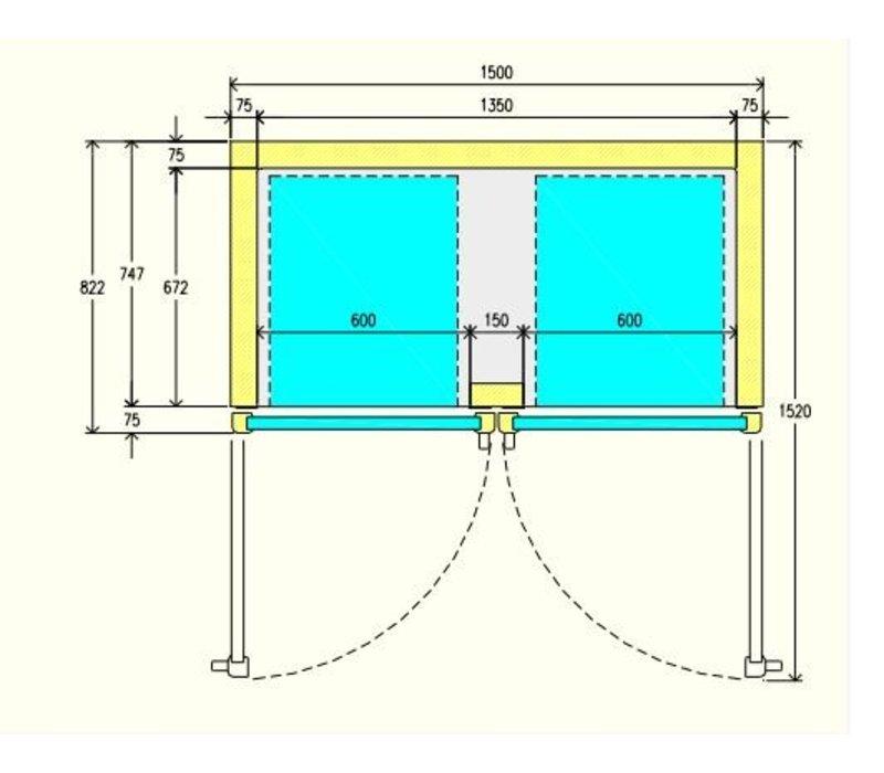 Diamond Gefrierschrank mit Glastür - Edelstahl - 1400 Liter - 150x82x (h) 203cm - DELUXE