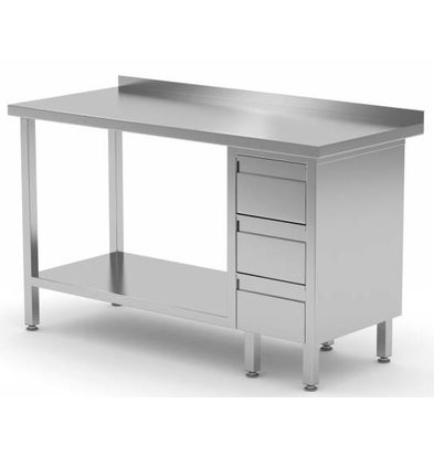 XXLselect Stainless steel worktable + Drawer unit (right) 3 drawers + Bottom Shelf | 800 (b) x700 (d) mm | CHOICE OF 12 WIDTHS