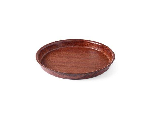 Hendi Tray Mahagoni Round - 320x35 mm rutschfeste Holz Formular