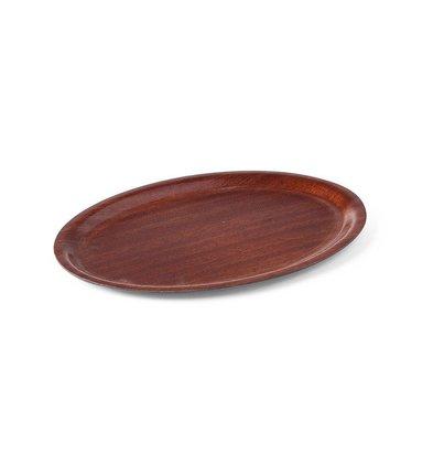 Hendi Tray Mahogany Oval   Nonslip   Shock / Break-resistant   Wood Form   230x160mm