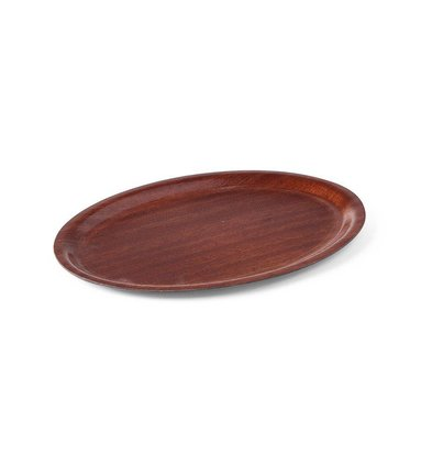 Hendi Tray Mahogany Oval   Nonslip   Wood Form   Shock / Break-resistant   200x265mm