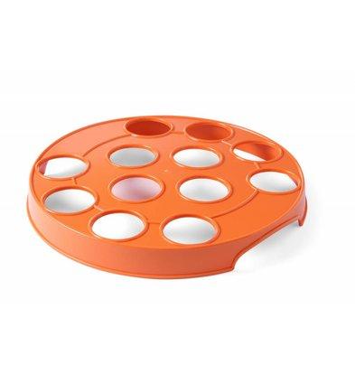 Hendi Bierglasdrager Oranje voor 12 Glazen | ABS gaten 55mm | Ø315mm