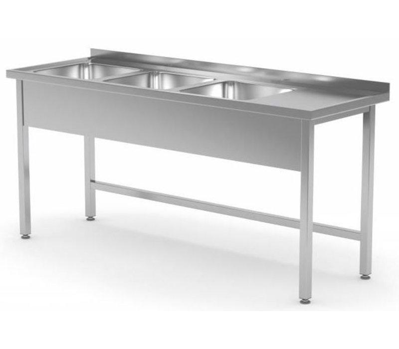 XXLselect Edelstahl-Wannen-Spülen XXL + 3 + offenen Boden | 1500 (b) x600 (d) mm | Auswahl von 5 WIDTHS