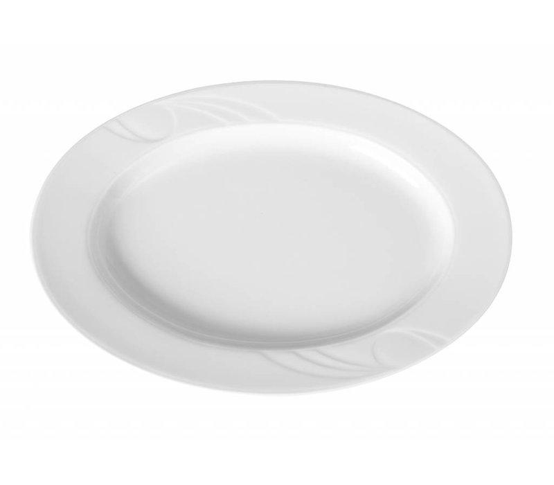 Hendi Skalieren oval Karizma - 340x235x30 mm - Weiß - Porzellan