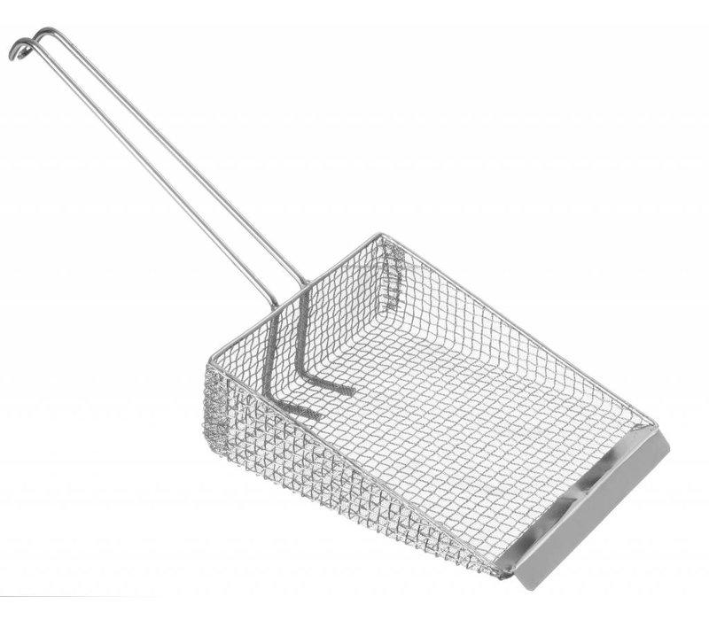 Hendi Fritesschep rvs 170x220 mm - dubbel gaas met draadgreep