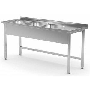 XXLselect Spoeltafels met 3 Spoelbakken op Maat - Elke maat Spoeltafel / Wasbak van RVS leverbaar in iedere Maat