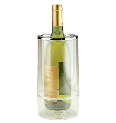 APS Bottle cooler Double-walled -Transparent Acrylic + Chrome Rim - Ø 12 cm x 23 (H) cm