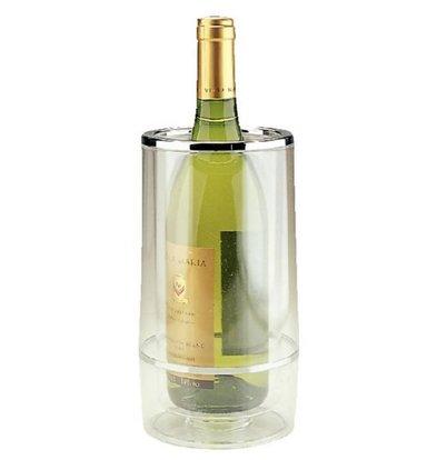 XXLselect Bottle cooler Double-walled -Transparent Acrylic + Chrome Rim - Ø 12 cm x 23 (H) cm