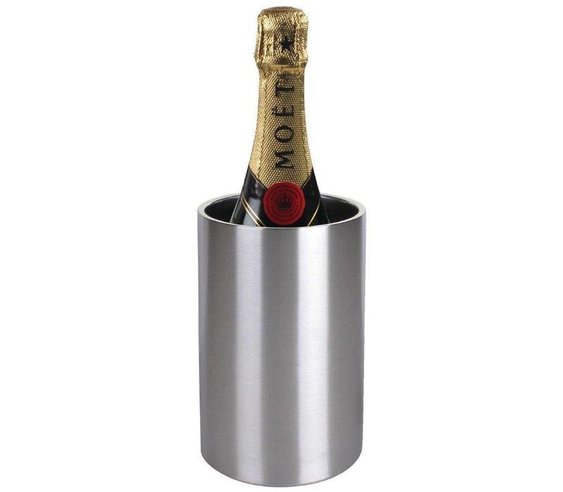 XXLselect Weinkühler / Champagnerkühler - Doppelwandige Edelstahl - Ø12cm x 20 (H) cm