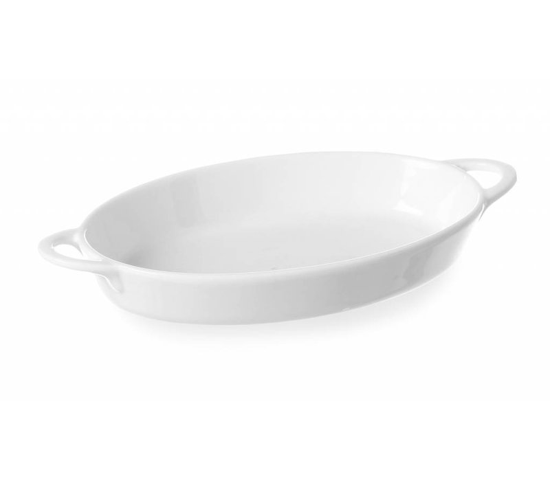 Hendi Tapas Bowl Oval - mit Griffen - 165x105x30 mm - Weiß - Porzellan