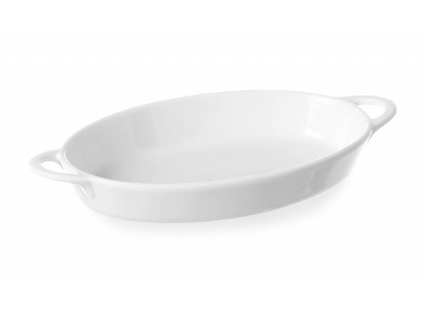 Hendi Tapas dish oval with handles - 270x180x40 mm - White - Porcelain