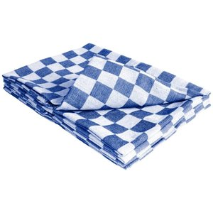 XXLselect Dishcloth - Blue / White Checkered Classic Towel - 65x65 cm