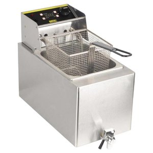 Buffalo Buffalo Single Fryer | 8 Liter | With Timer + + Drain Valve Cover | 2900W