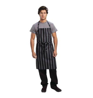 Chef Works Verstellbarer Halter Schürze - Nadelstreifen-Grau / Schwarz - 76x86cm - Mit Tasche - Unisex