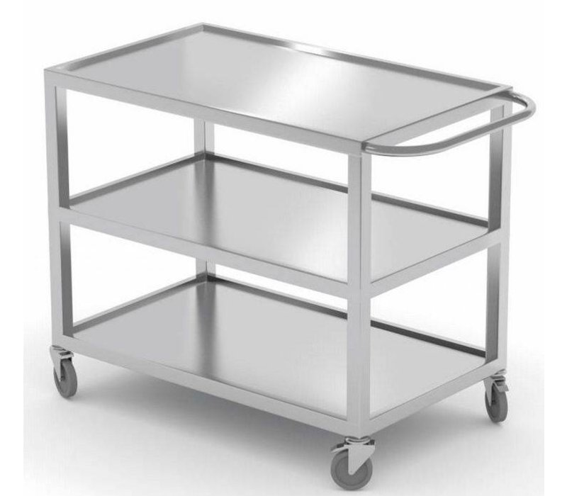XXLselect Stainless Steel Heavy Duty Trolley - three-layer - 30.5 cm space between the layers - Total height 85cm