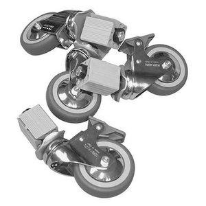 XXLselect Wielenset 6 Wielen - voor alle RVS Werktafels, Kasten, Spoeltafels - INCLUSIEF MONTAGE - ø100mm